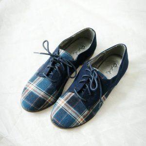 Blue Plaid Oxford Shoes by Qupid